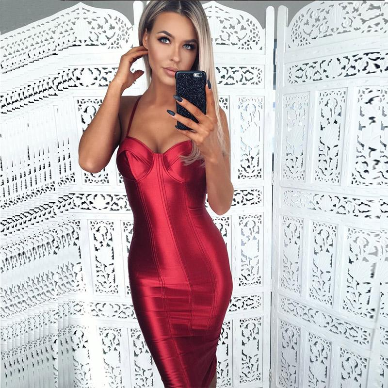Sexy Spaghetti Straps Bodycon Red Party Dress Open Back Satin Gold Tight Package Hips Sleeveless Split Midi Dress-Dress-SheSimplyShops