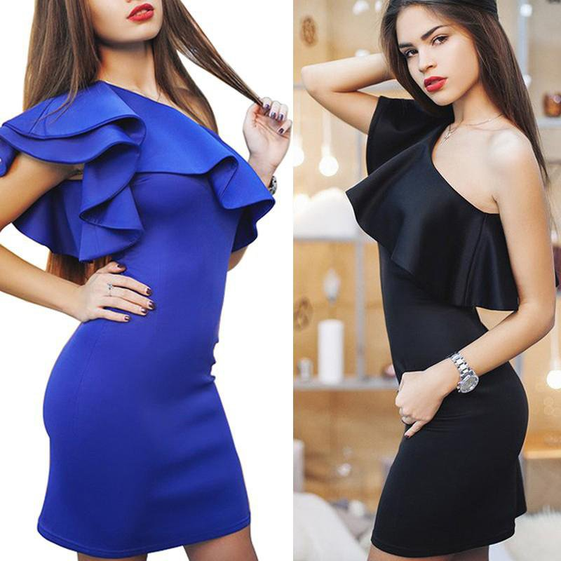 Sexy Women Dress One-Shoulder Ruffle Flouncing Package Hip Slim Solid Color Fashion Party Dress Casual Bodycon Dresses-Dress-SheSimplyShops