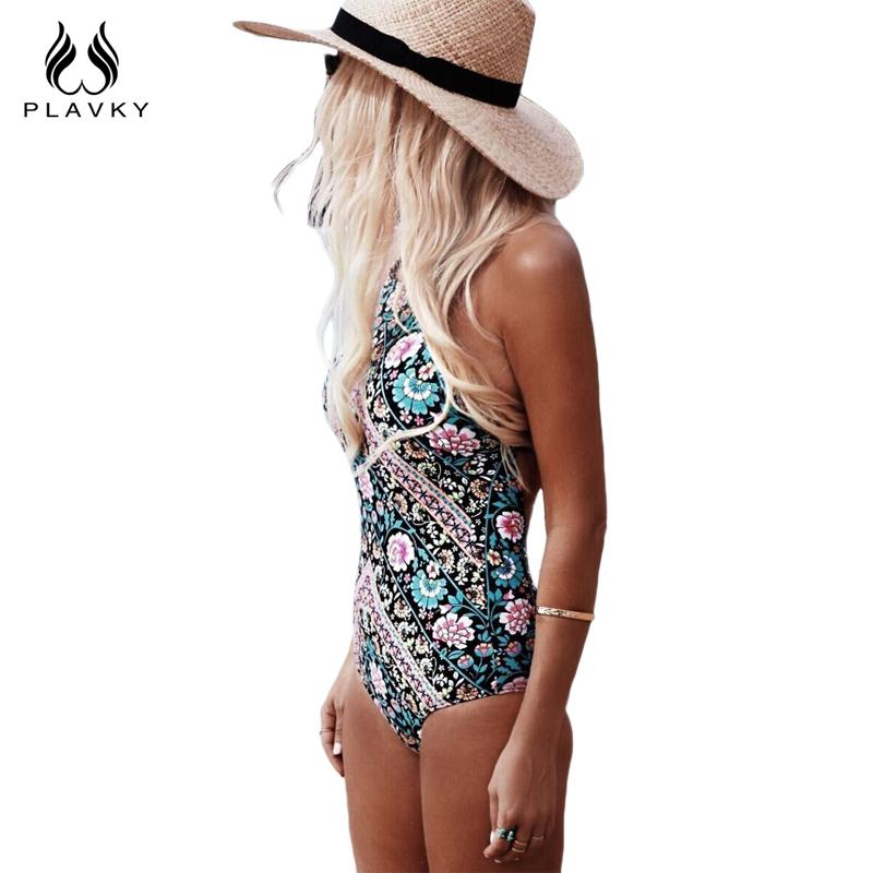 Women One Piece Swimsuit Floral High Neck Swimwear Women Halter Bathing Suit Backless Bodysuit-SWIMWEAR-SheSimplyShops