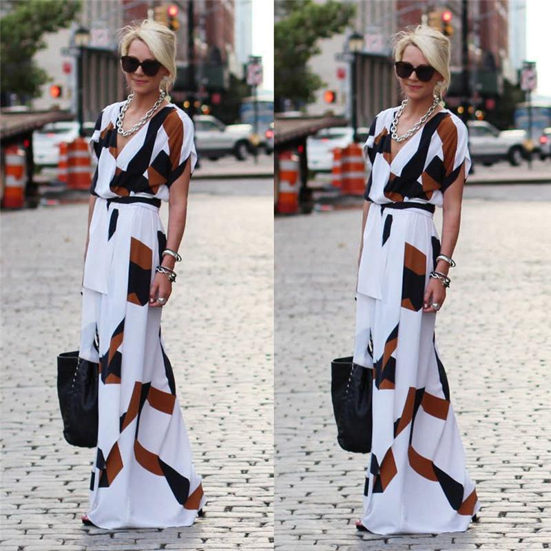 Short Sleeve Women Summer Dress Geometry Printing Women Summer Long Maxi Dress V Neck Evening Party Long Dress-Dress-SheSimplyShops