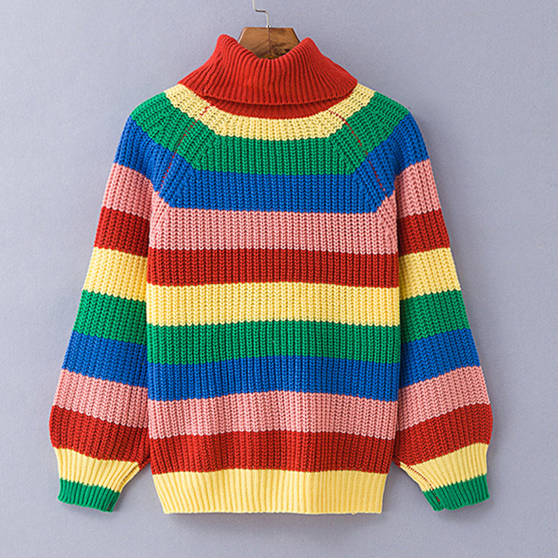 Simenual Rainbow turtleneck sweaters women winter jumpers knitted clothes fashion striped oversized pullover female sale