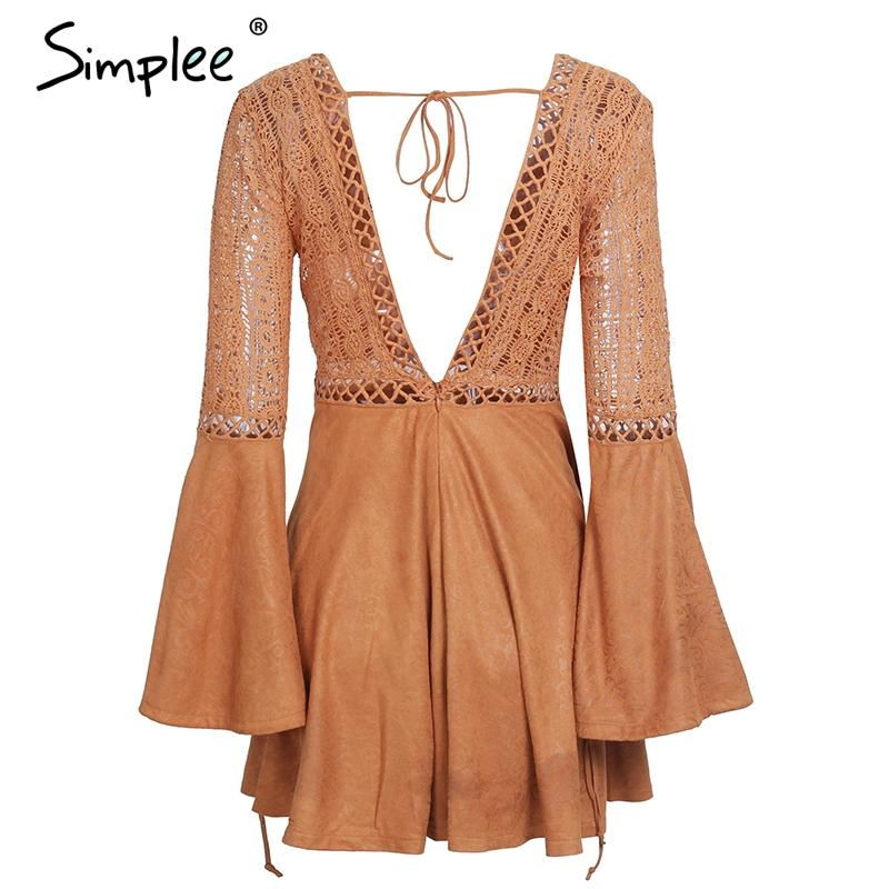 Sexy lace up v neck suede lace dress women Hollow out flare sleeve winter dress party Autumn backless lemme-Dress-SheSimplyShops