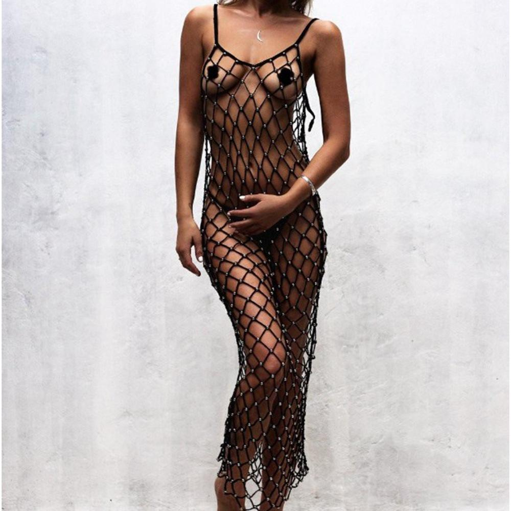 Solid crochet cover ups beads twinkling mesh cover up handmade crochet beach dress mesh beach wear net bodysuit bead cover ups-Dress-SheSimplyShops