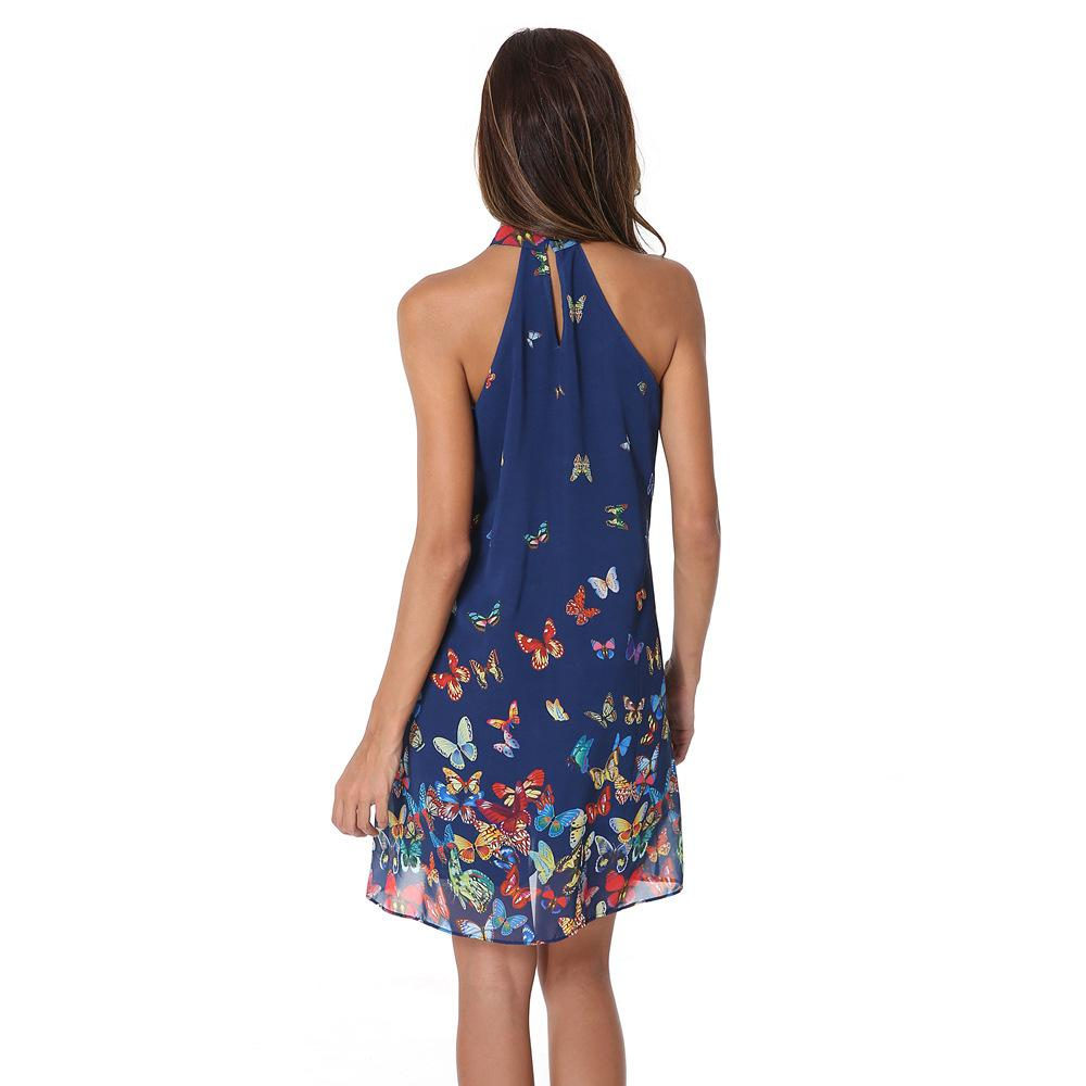 Sleeveless Halter Butterfly Printing chiffon party Dress Women and girls Summer beach tunic print sexy dresses-Dress-SheSimplyShops