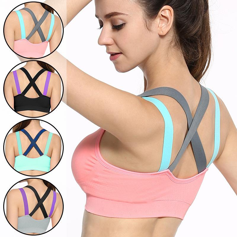 Sports Bra Full Cup Breathable Top Sport Bra Shockproof Cross Back Push Up Bra For Gym Running Jogging Yoga Fitness Bra-ACTIVEWEAR-SheSimplyShops
