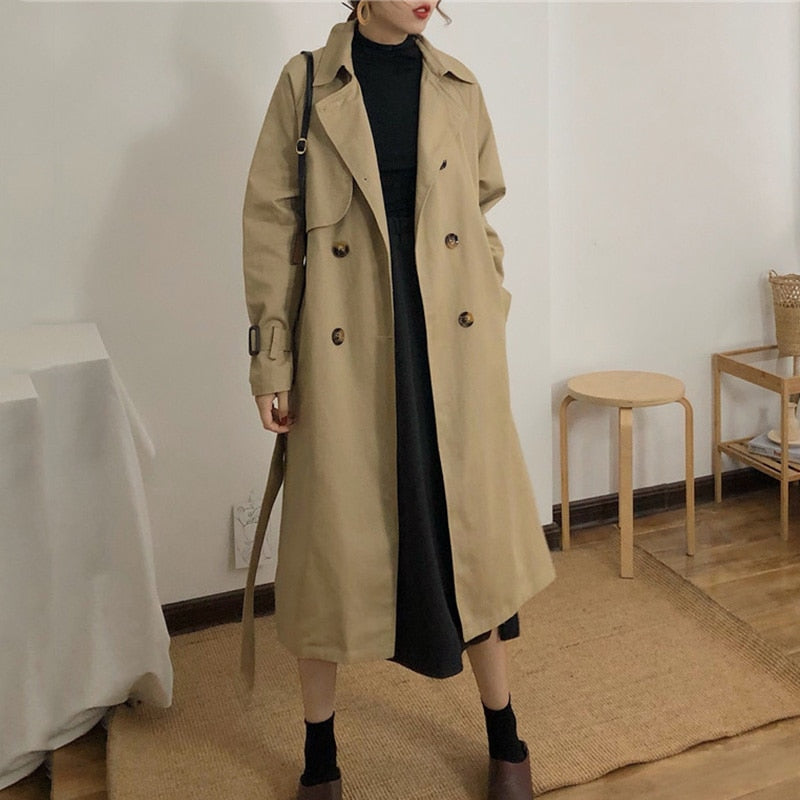 Spring And Autumn Women Korea Waist Belt Loose Khaki Color Trench Female Casual Elegant Soft Long Coat Cloth