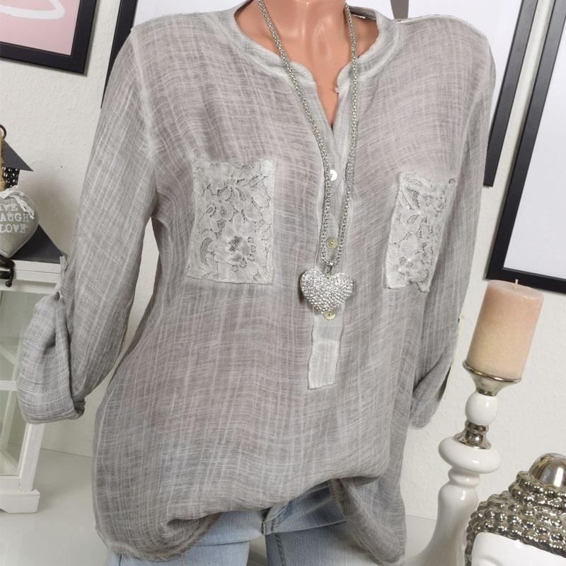Spring Autumn Women Shirt Long Sleeve Blouse Solid Color Tops Lace Patchwork Loose Shirts-Blouse-SheSimplyShops