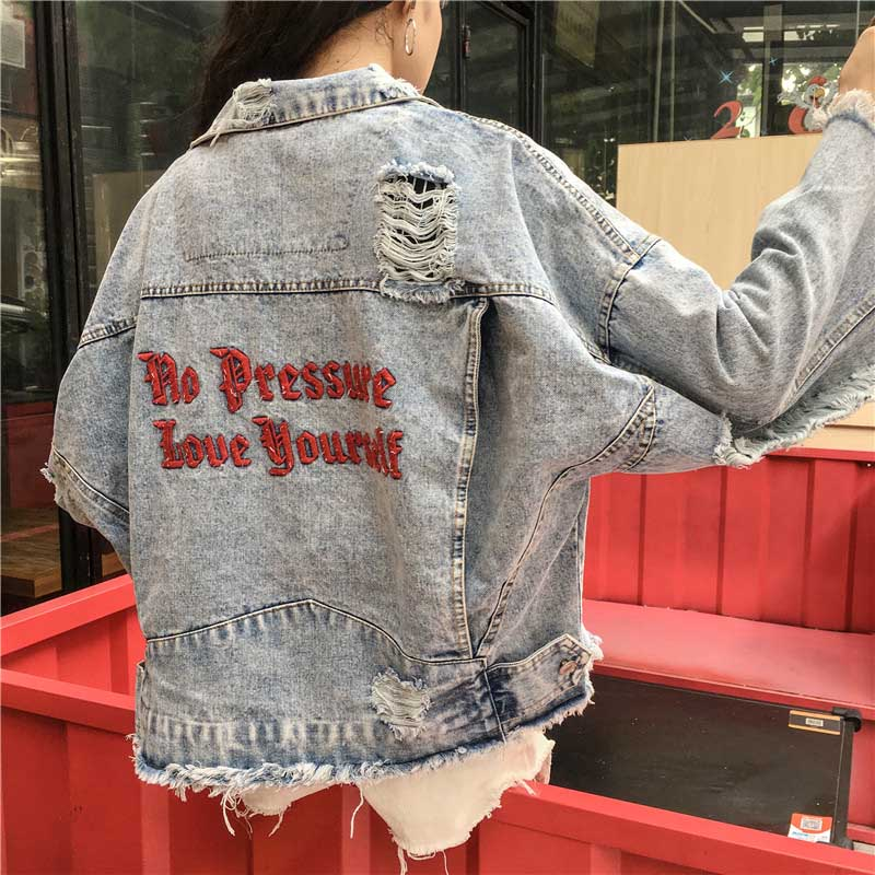 Spring Embroidery Denim Women's Jackets Loosen Women Plus Size Jackets Basic Coats For Women Streetwear Women Jackets Outerwear