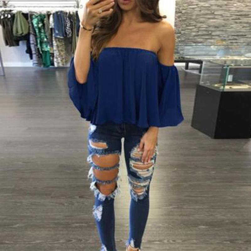 Summer Sexy Off The Shoulder Butterfly Sleeve Women Boho Chiffon Shirts Cool Beach Blouses Tops Summer Blouse-Blouse-SheSimplyShops