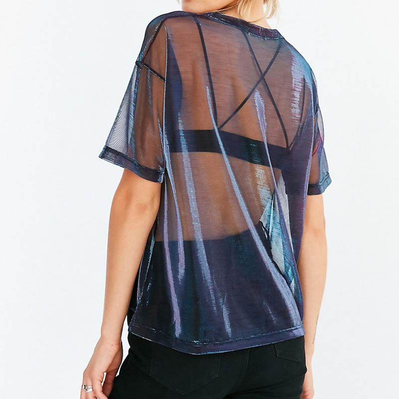Summer Sexy Mesh Tee See-Through Women T-shirts Short Sleeve Perspective Shine Casual Women Tops Lady Vintage Blush-SHIRTS-SheSimplyShops