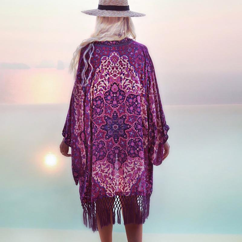 Swimsuit Cover ups Summer Chiffon Purple Fringe Bathing suit Cover ups Tunic women Beach Dress Cover up-Dress-SheSimplyShops