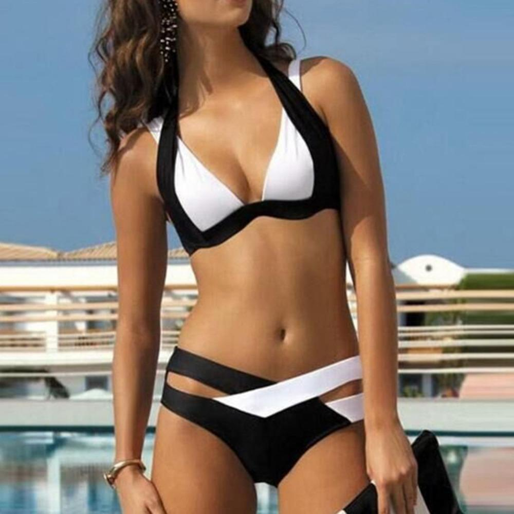 Swimwear Women Bikini Push Up Bikini Sexy black and white mix Swimwear bikini set bikini maillot de bain femme drop shipping-SWIMWEAR-SheSimplyShops