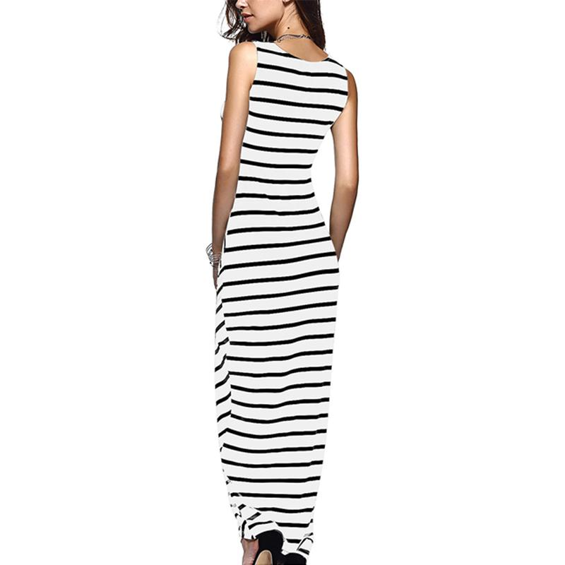 Long Striped Women Summer Dress Spaghetti Strap Tunic Beach Maxi Dress And Sundress Women Summer Dress-Dress-SheSimplyShops