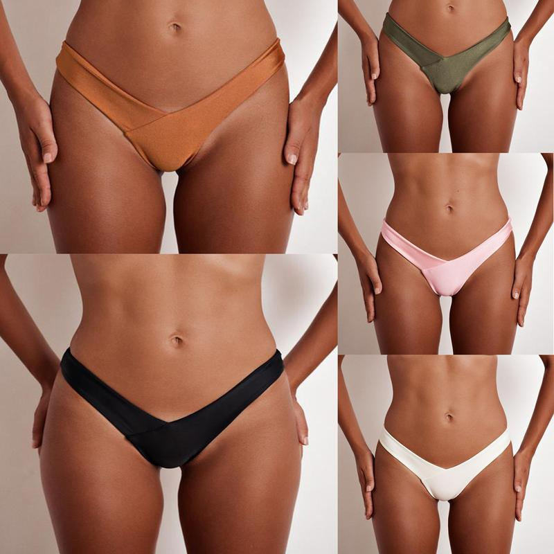 Swimming briefs V shape sexy swimwear women bikini bottoms scrunch butt thong panties underwear-PANTS-SheSimplyShops