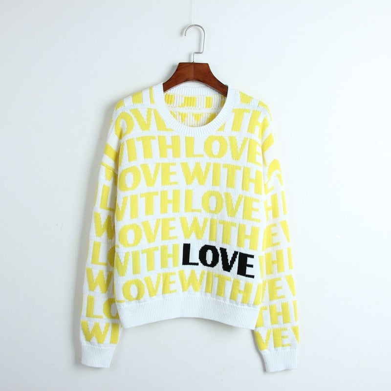 Thick Women Sweater Love Letters Pattern Jacquard Sweater Women Knitted Pullovers Long Sleeve Winter Cool Runway Sweaters Tops