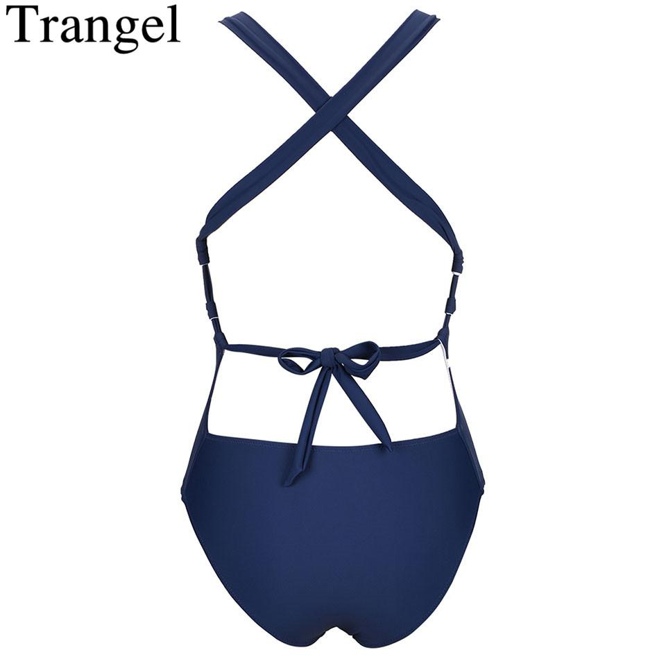 Sexy Swimsuit Women Dust Blue Solid Bathing Suit Deep Plunge Cross Back One Piece Swimsuit Swimwear-SWIMWEAR-SheSimplyShops