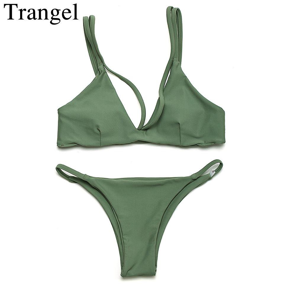 Stroppy Swimwear women Bikini Reversible Swimsuit Women Bathing suit Seamless Beachwear Bikinis Gray Green-SWIMWEAR-SheSimplyShops