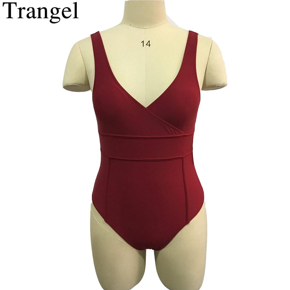 Wine Red Solid Swimsuit One Piece Swimwear Deep Scoop Back Tank One Piece Bathing Suit Padded High Cut Bodysuit-Tanks-SheSimplyShops
