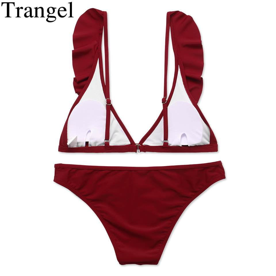 Wine Red Solid Swimwear Women Swimsuit Push Up Bathing Suit Ruffle Bikini Beach Bathing Suit-SWIMWEAR-SheSimplyShops