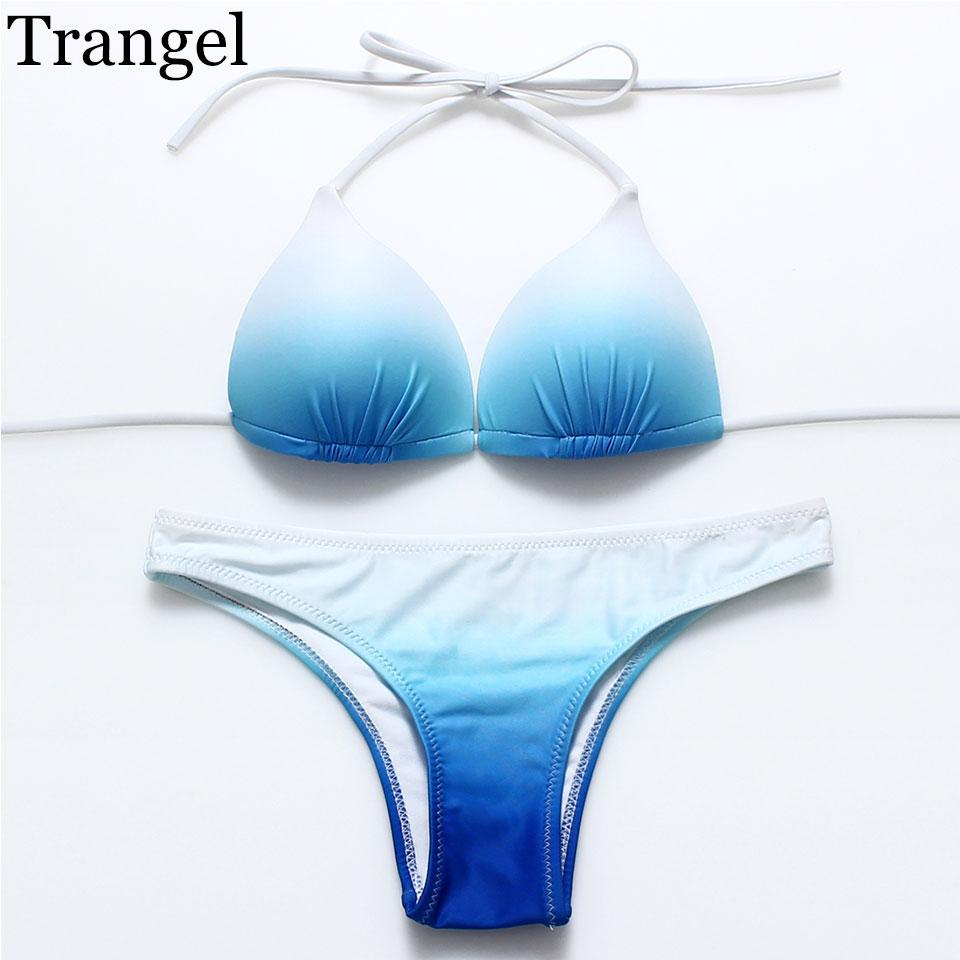Women Push Up Bikinis Stroppy Tie up Bikini Women Halter Swimwear Swimsuit Bathing Suit Sky Blue Gradient Color Bikinis-SWIMWEAR-SheSimplyShops