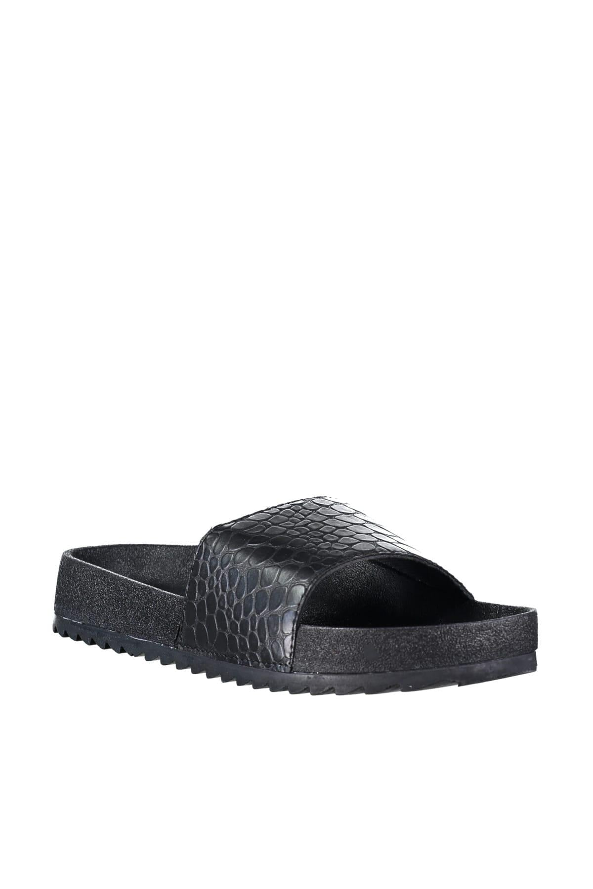 Black Kroko Women Slippers TAKSS19TE0018