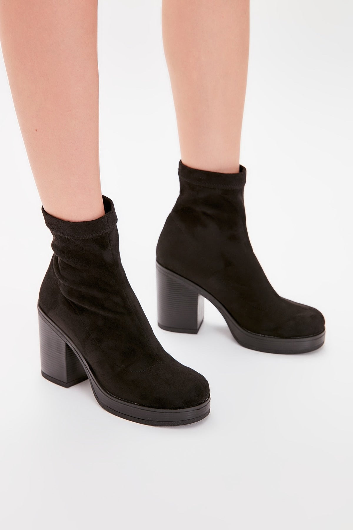Black Suede Stretch Women 'S Boots TAKAW20BO0110