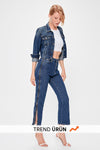 Blue Zipper Detailed High Bel Mom Jeans TWOAW20JE0146
