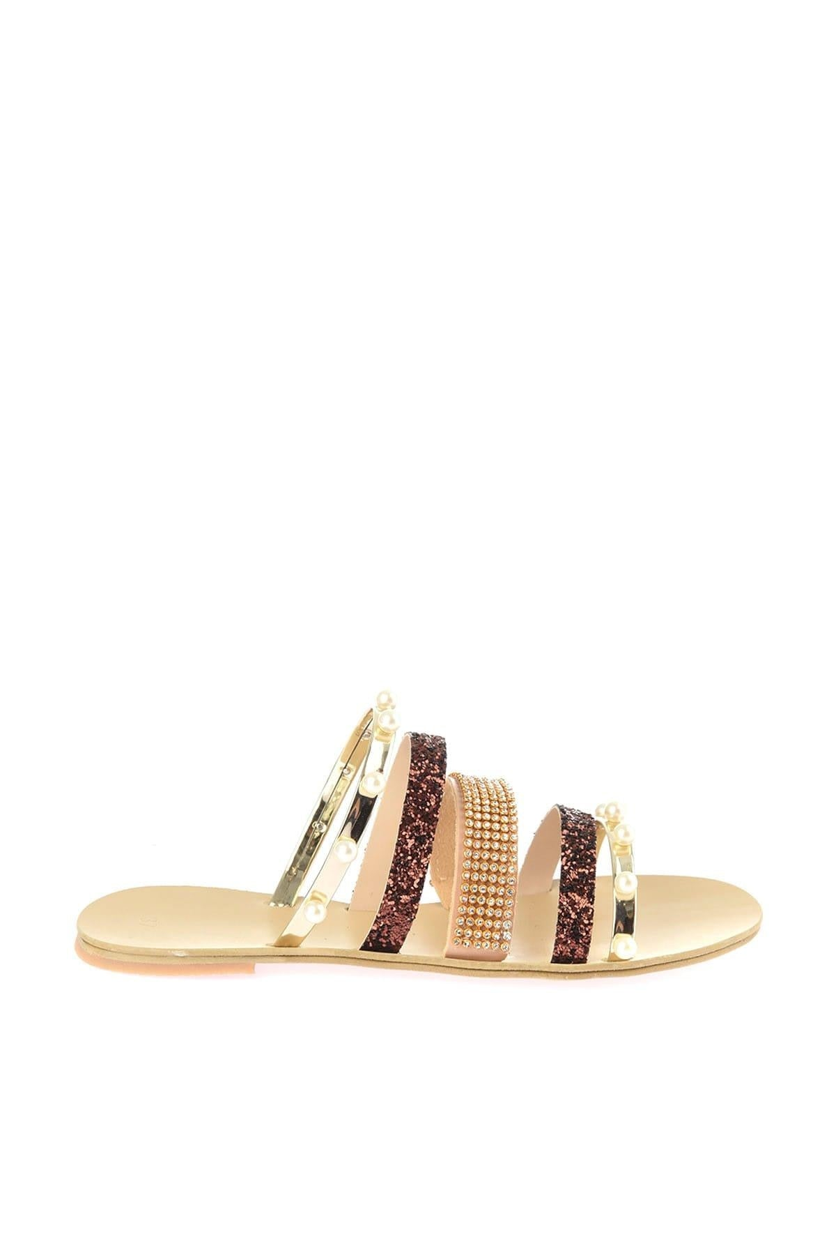 Gold Stone And Pearl Detailed Women Slippers TAKSS19TE0003