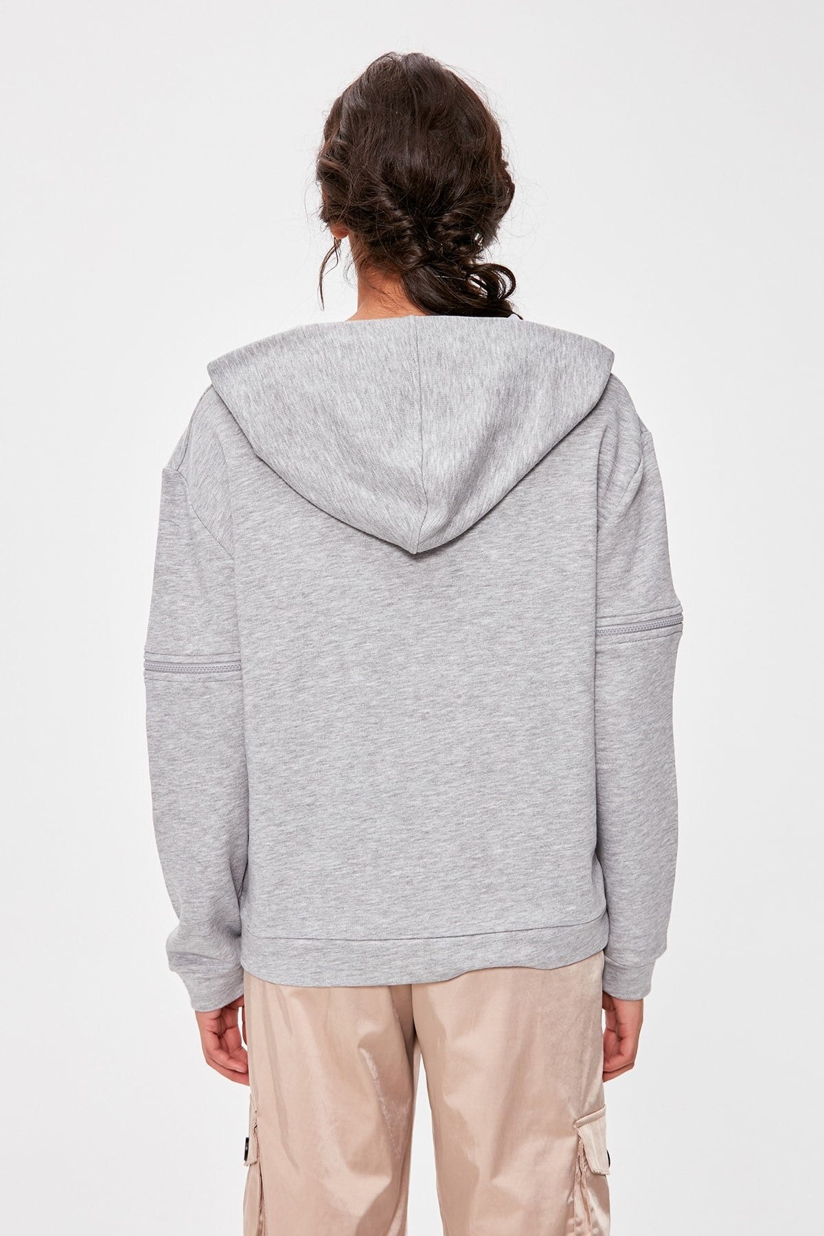 Gray Zipper Detail Hooded Knitted Sweatshirt TWOAW20SW0237