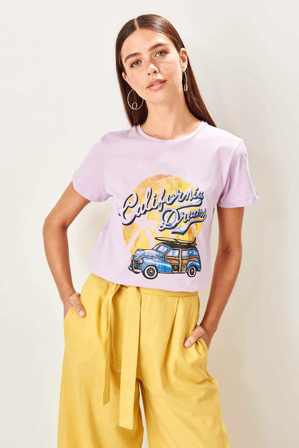Lilac Printed Basic Knitted T Shirts TWOSS19TS0059