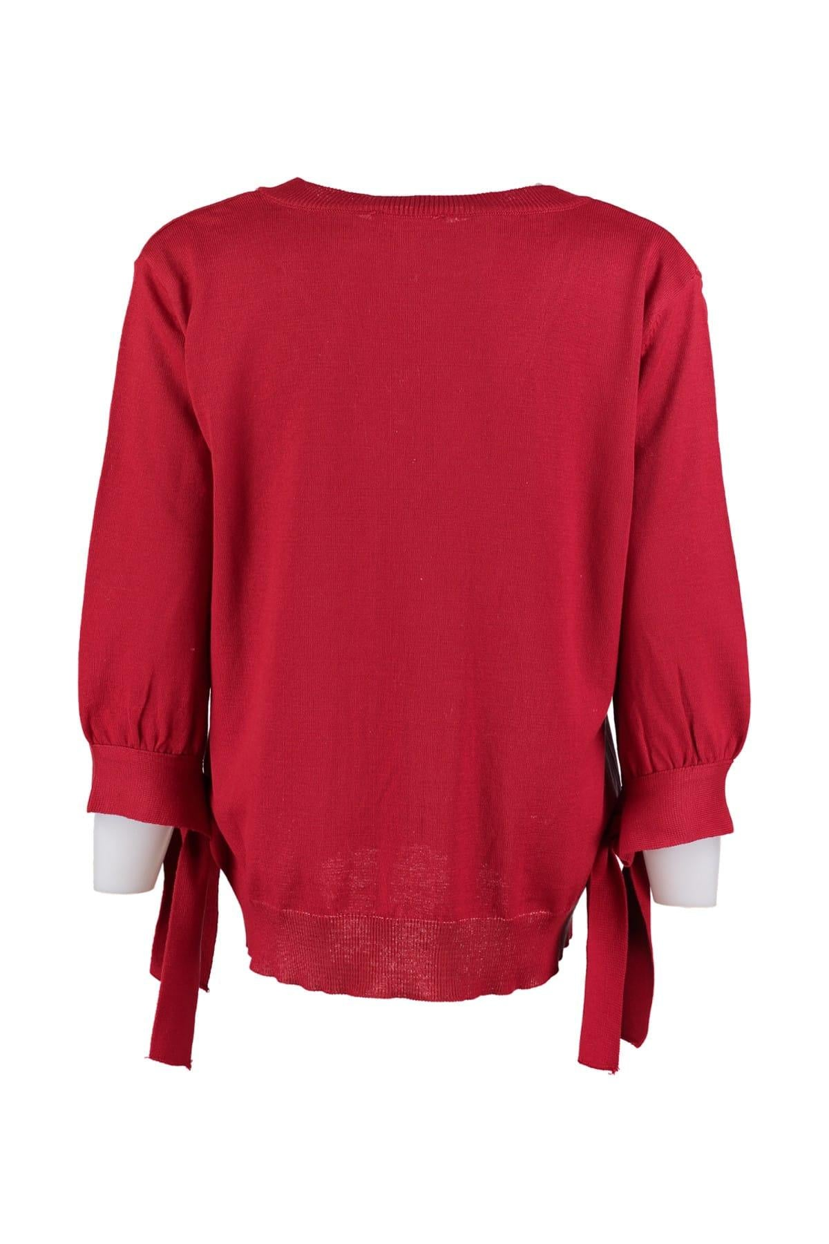 Red V Neck Handle Binding Detaylı Knitwear Sweater TWOAW20DU0012
