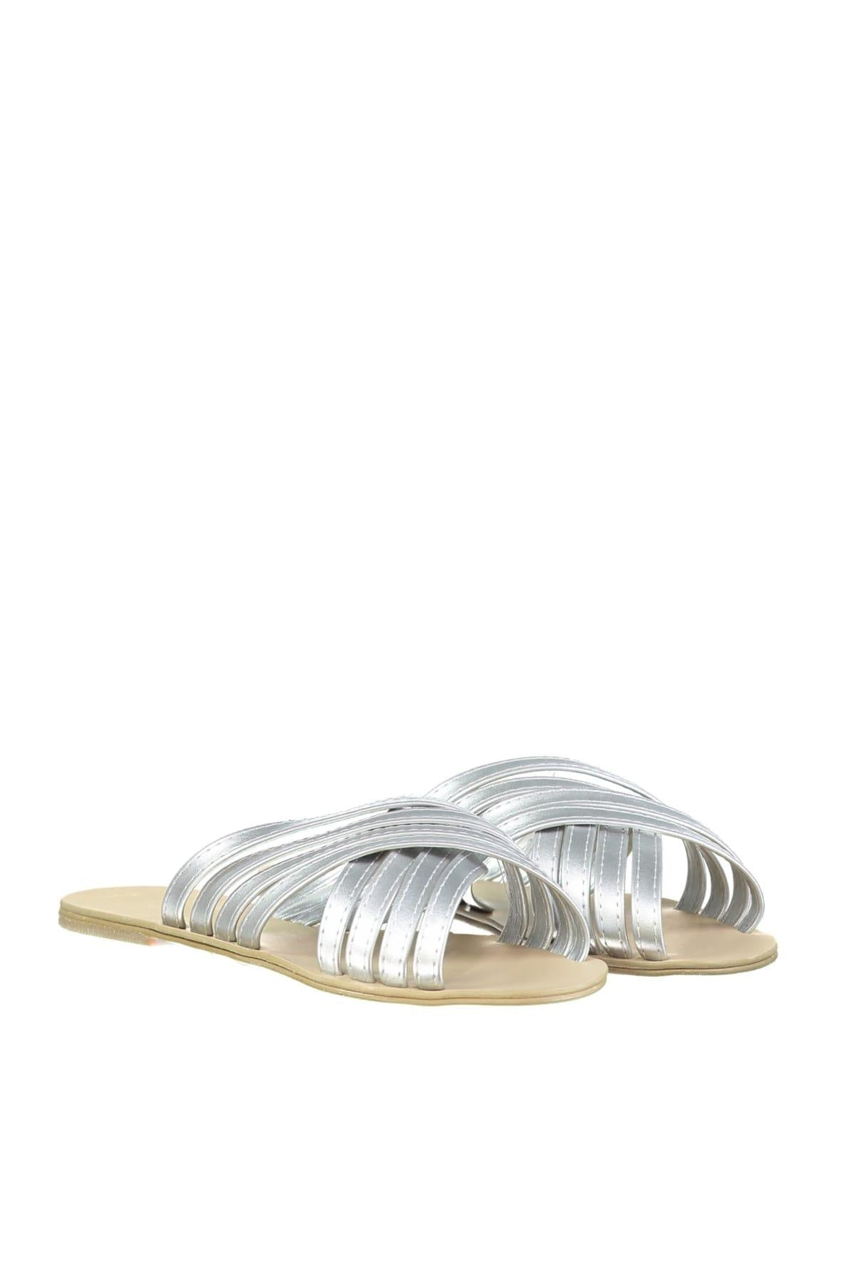 Silver Metallic Women Slippers TAKSS19HG0025