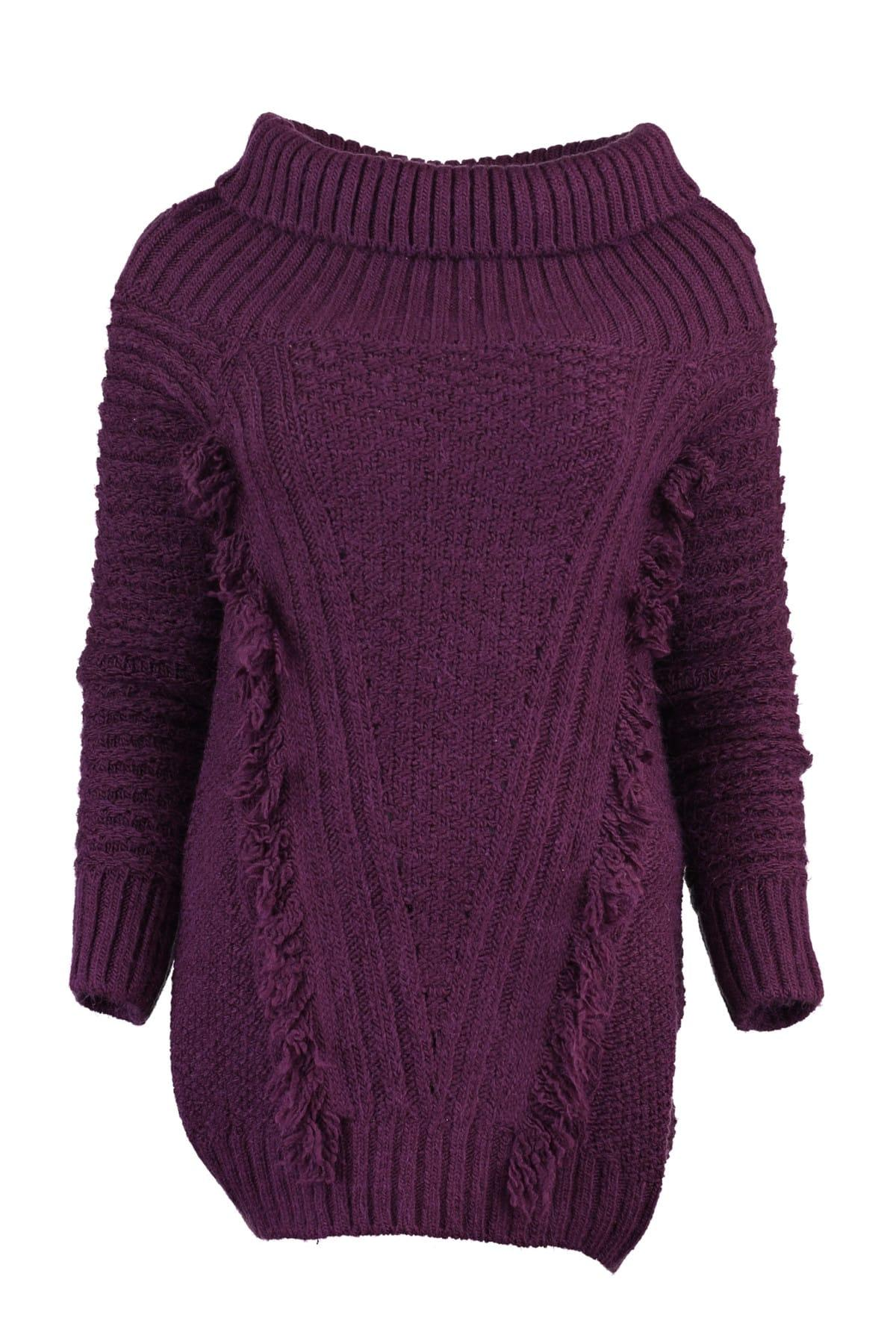 WOMEN Purple Tassels Sweater Sweater TWOAW20NV0010