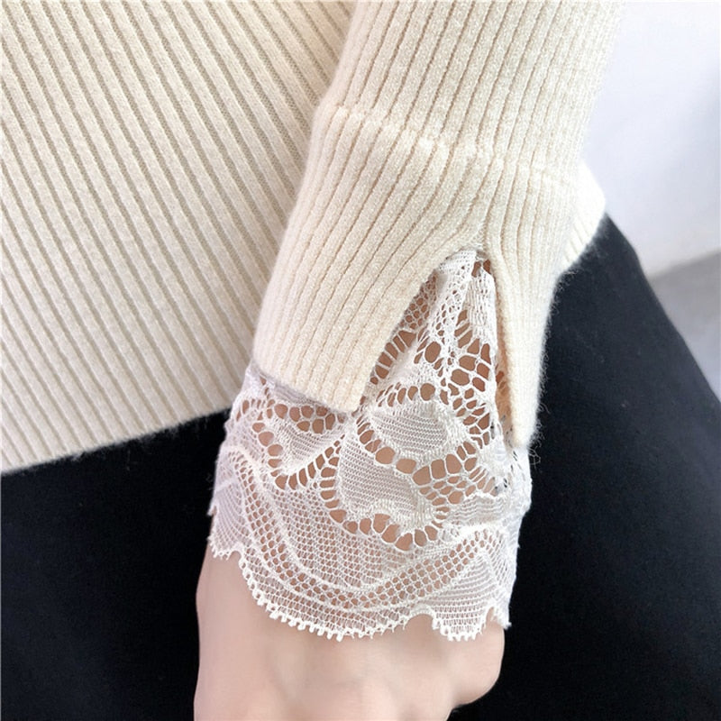 Turtleneck Sweater Autumn And Winter Lace Stitching Half Turtleneck Sweater Female Long Sleeved Sweater White Black Blue