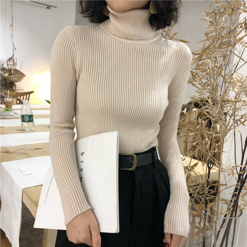Turtleneck Sweater Womens Autumn Winter Tops Korean Slim Women Pullover Jumper Knitted Sweater Pull Femme Hiver Truien