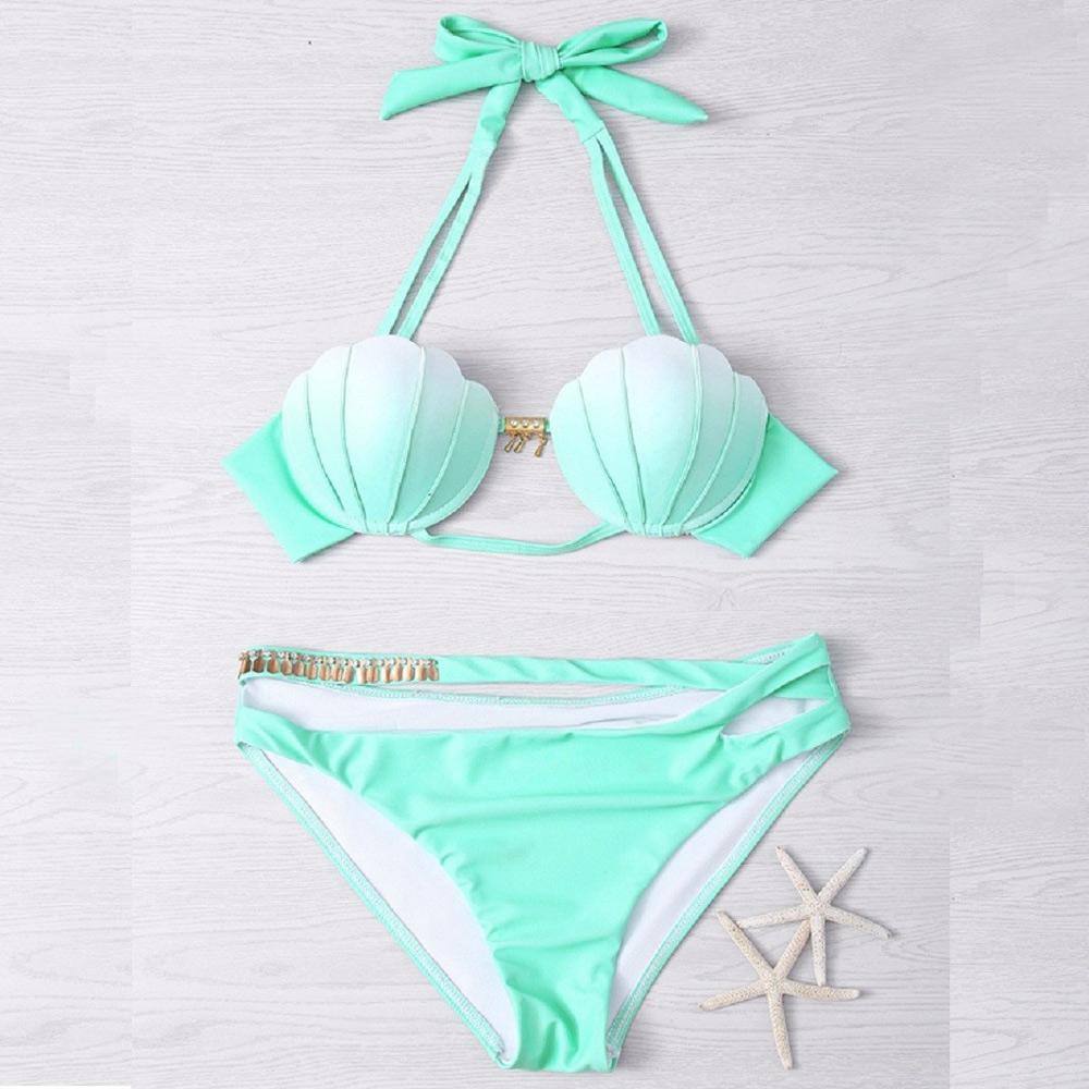 Bikini Sets Two Piece Set Swimsuit New Arrival Shell Bra Women Bikinis Sexy Push Up Swimwear Summer-SheSimplyShops