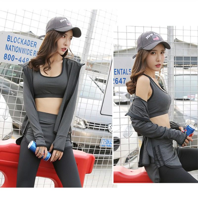 5Pcs Yoga Sets Fitness Sport Suit Women Sport Bra Yoga Pants Quick-drying T-shirt Running Coats Outdoor Tracksuit Female-ACTIVEWEAR-SheSimplyShops