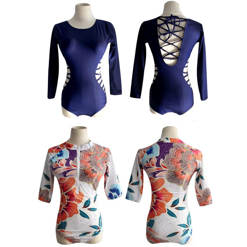 One Piece Swimsuit Women Long Sleeve Swimwear Retro Print Floral Surfing Bodysuit Female Bathing Suits Zipper-SheSimplyShops