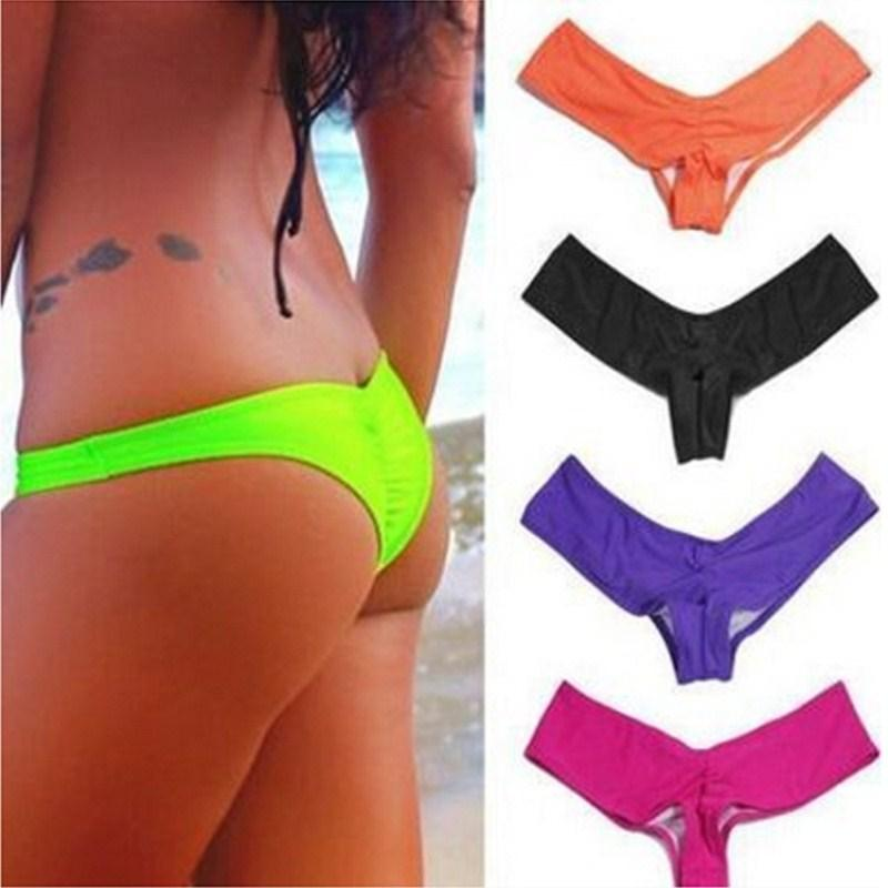 Sexy Bikinis Bottom Pleated Solid Women Swimwear Brief Summer Swimsuit Cheeky Thong Swimming Trunks Black-Bottoms-SheSimplyShops