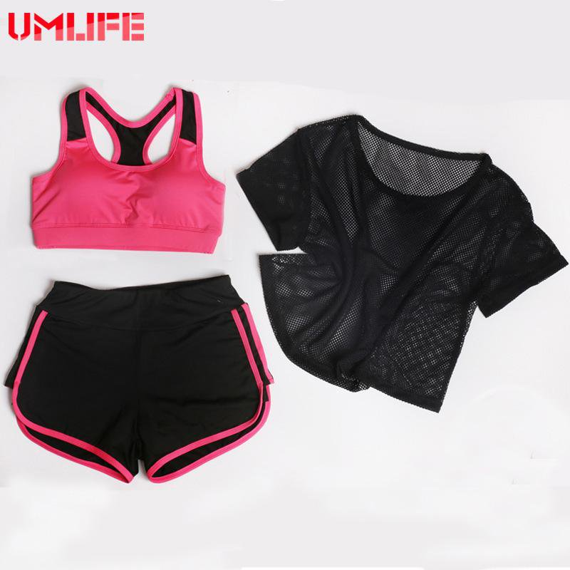 Three Piece Set Women Yoga Suit Mesh T-shirts Yoga Bra Sports Shorts Outdoor Fitness Running Clothes Push Up Yoga Set-SheSimplyShops