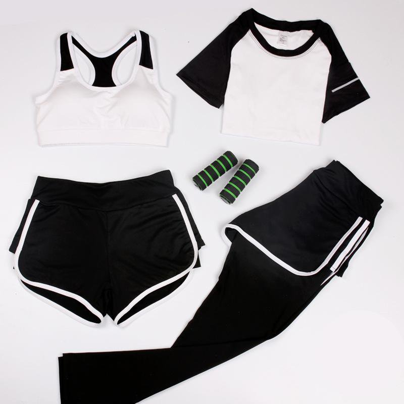 Women Sport Suit 4 Piece Set Workout Fitness Gym Yoga Suit Yoga Bra T-shirt Shorts Yoga Pants Sexy lady Slim Yoga Clothes-SheSimplyShops