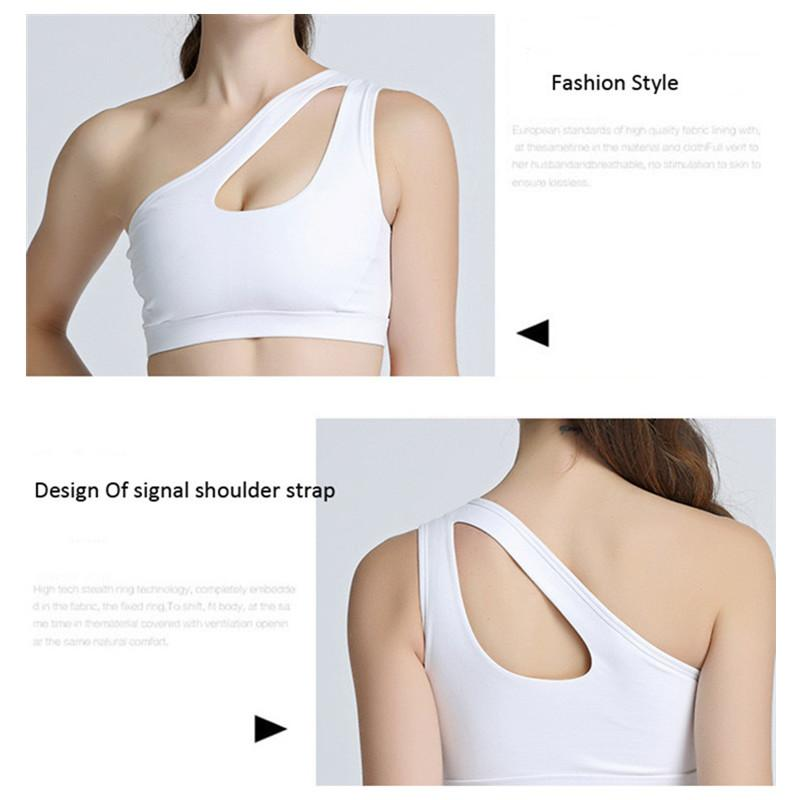 Women Yoga Running Bra Sport Bra Women Breathable Quick Dry One Shoulder Padded Workout Running Clothing Vest Underwear-SheSimplyShops
