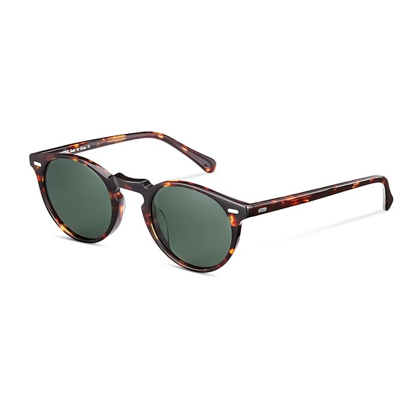 Retro Round Polarized Sunglasses For Men and Women Vintage Driving Outdoor Gregory Peck Sun Glasses With Case