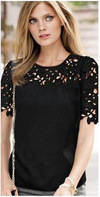 Chiffon Short Sleeve Lace Blouses-Tops-SheSimplyShops