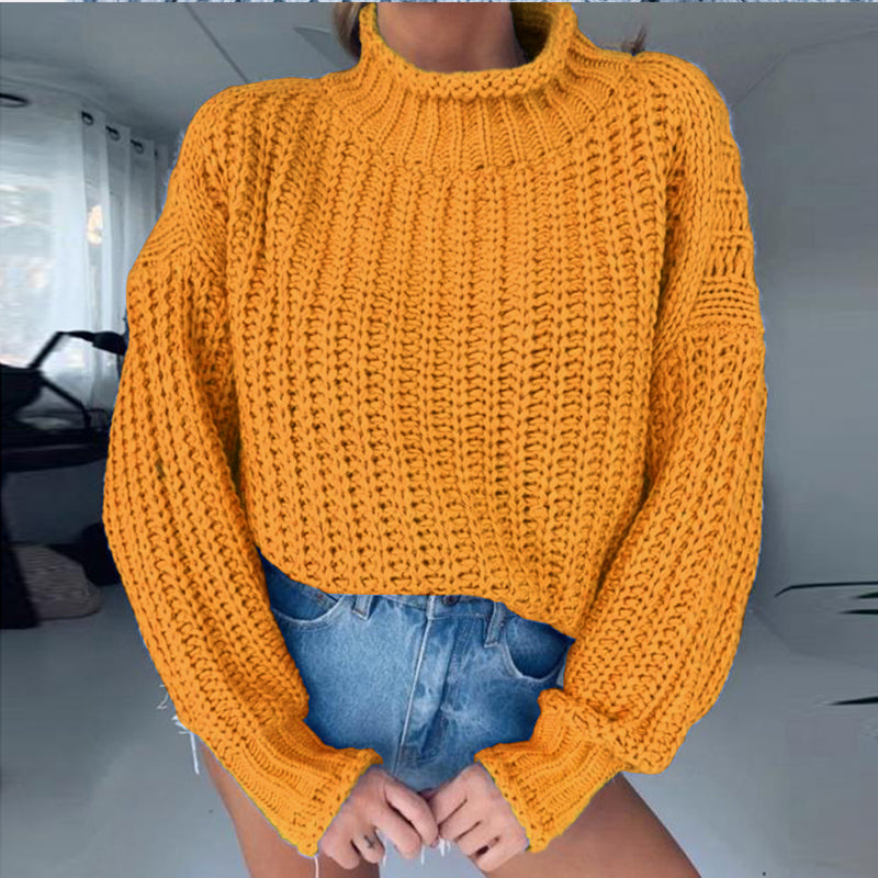 Ursohot Winter Knitted Sweater Pullover Hook Flower Jumpers Ladies Turtleneck Warm Sweaters Solid Woman Lantern Sleeve Top Femme