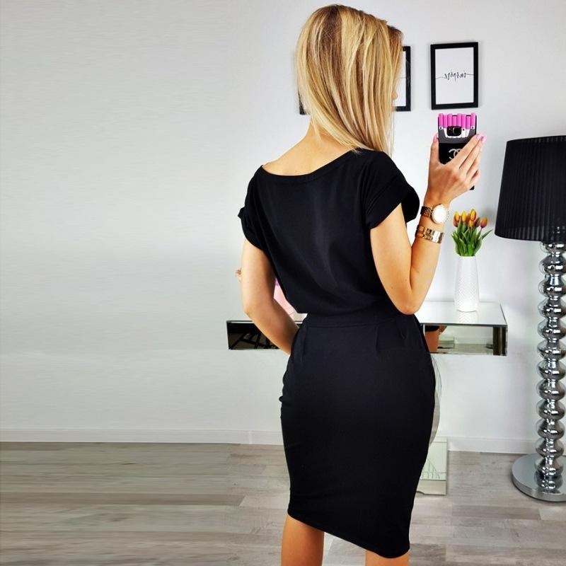 Women Loose Casual Pencil Dress Female Summer Black Short Sleeve Knee-length Elegant Belt Midi Office Dresses-Dress-SheSimplyShops