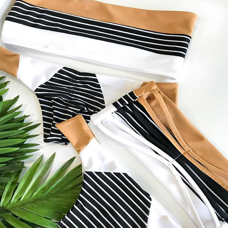 Stripe strapless bandage swimwear push up bathing suit swimsuit design bikini-SWIMWEAR-SheSimplyShops