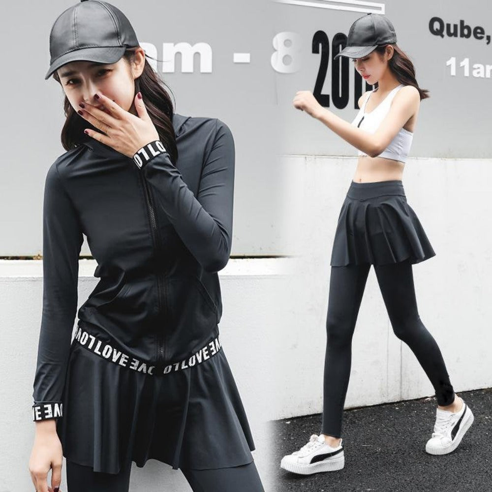 Solid women yoga set letter printed gym suit skirted pants hoodie T-shirt running bra zipper sportswear-ACTIVEWEAR-SheSimplyShops