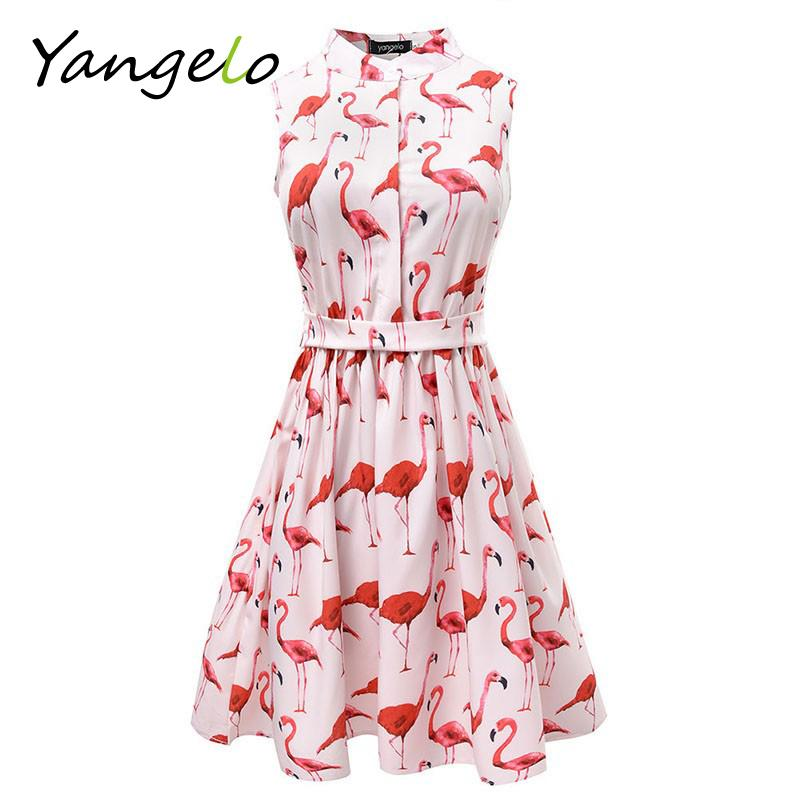 Summer Women Dress Strawberry Cactus Flamingo Fun Flare Prints Casual High Waist Cute A Line Mini Dress-Dress-SheSimplyShops