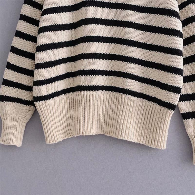 Vintage Buttons Decorate Turtleneck Knitted Sweater Women Long Sleeve Streetwear Loose Pullovers Casual Pull Femme